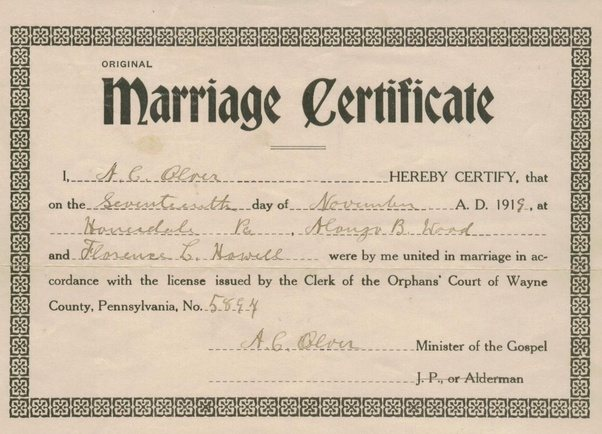 Marriage license certificate pa