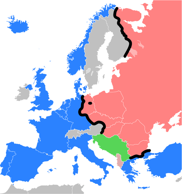 The Iron Curtain Is Depicted By Black Line