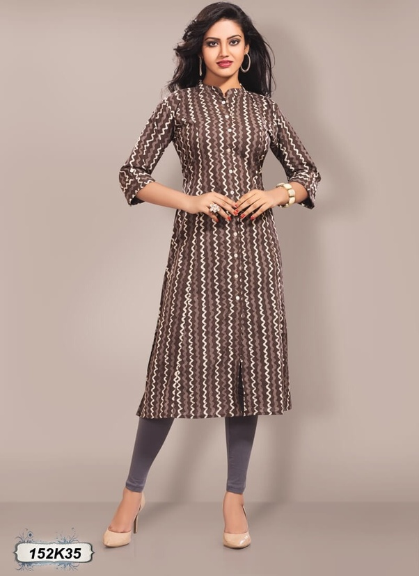 Stunning Brown Colored Cotton Party Wear Kurti