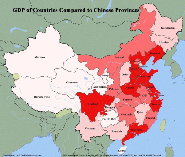 are there any provinces of china that could be considered developed