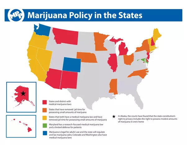 In which states is smoking weed legal and what are their rules for