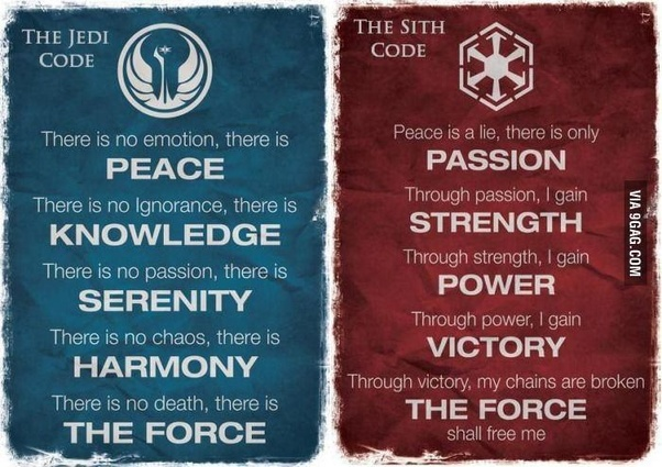 Which Code Is Better The Sith Code Or Jedi Code Quora