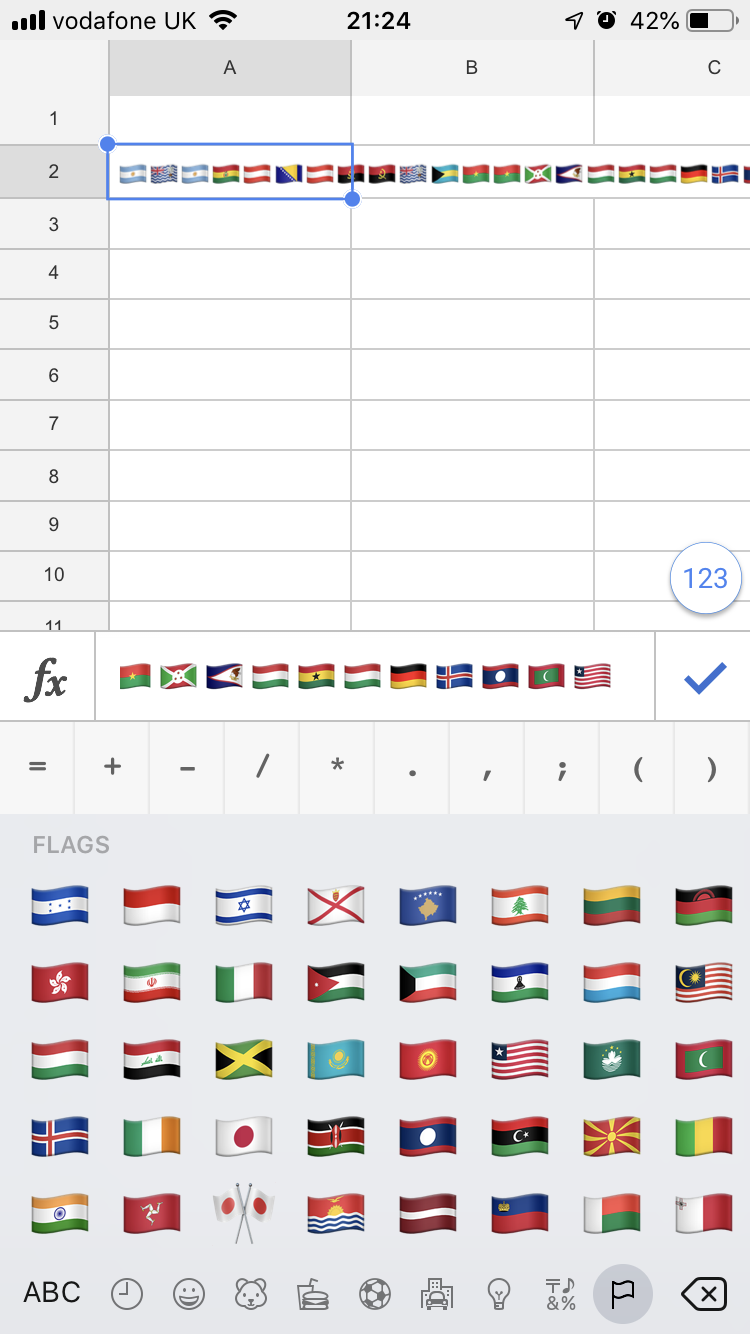 How to use the flag emojis in Google Sheets - Quora