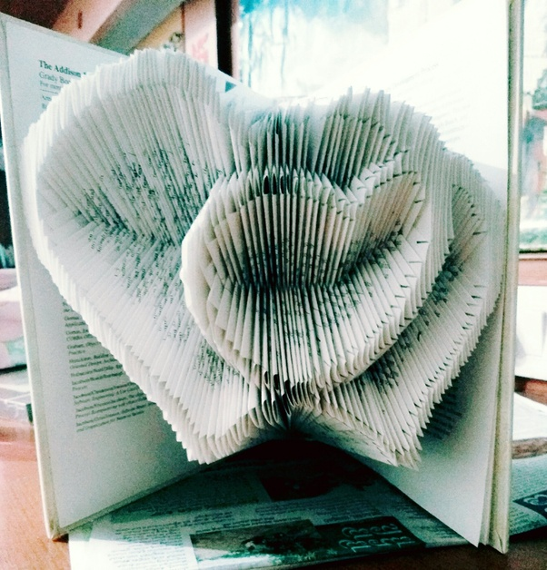 This One Was My Very First Book Sculpture Making Took In A Lot Of Effort Marking Every Page Folding It And Sometimes Cutting Slots