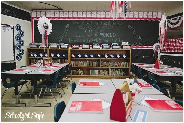 Americana Classroom Decor ~ How to decorate a classroom with red color theme quora