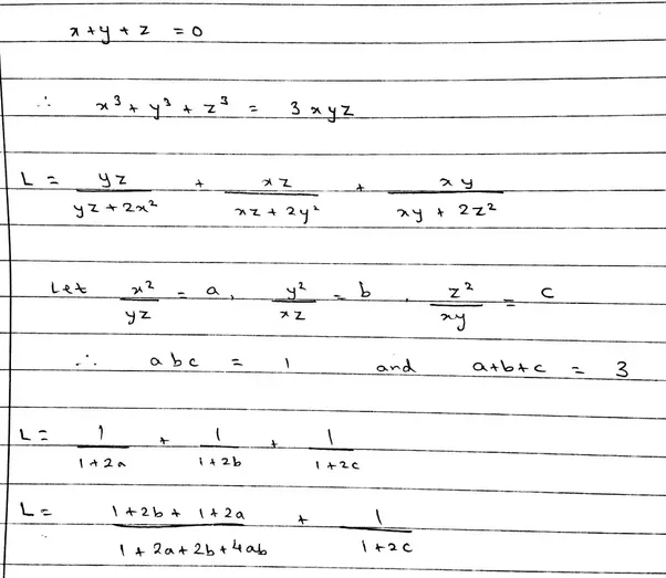 �yf�y�y��y>{��Z[_Ifx+y+z=0thenprovethatyz/(2x2+yz)+zx/(2y2+zx)+xy/(2z2+xy)=1-Quora