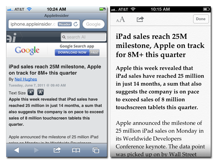 What advantages, if any, does Apple's mobile Safari have