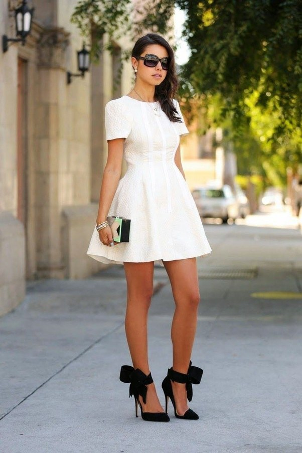 How would I look if I use a white dress and black heels? - Quora