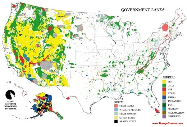 What are some maps which show public land in the USA Quora
