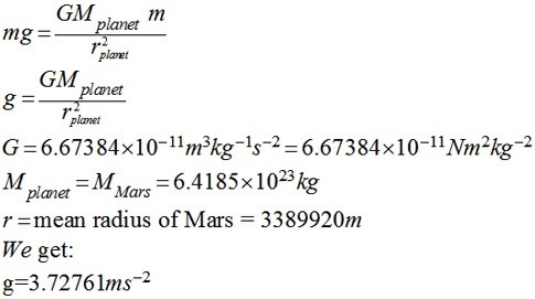 relationship between planetary mass and gravity formula math
