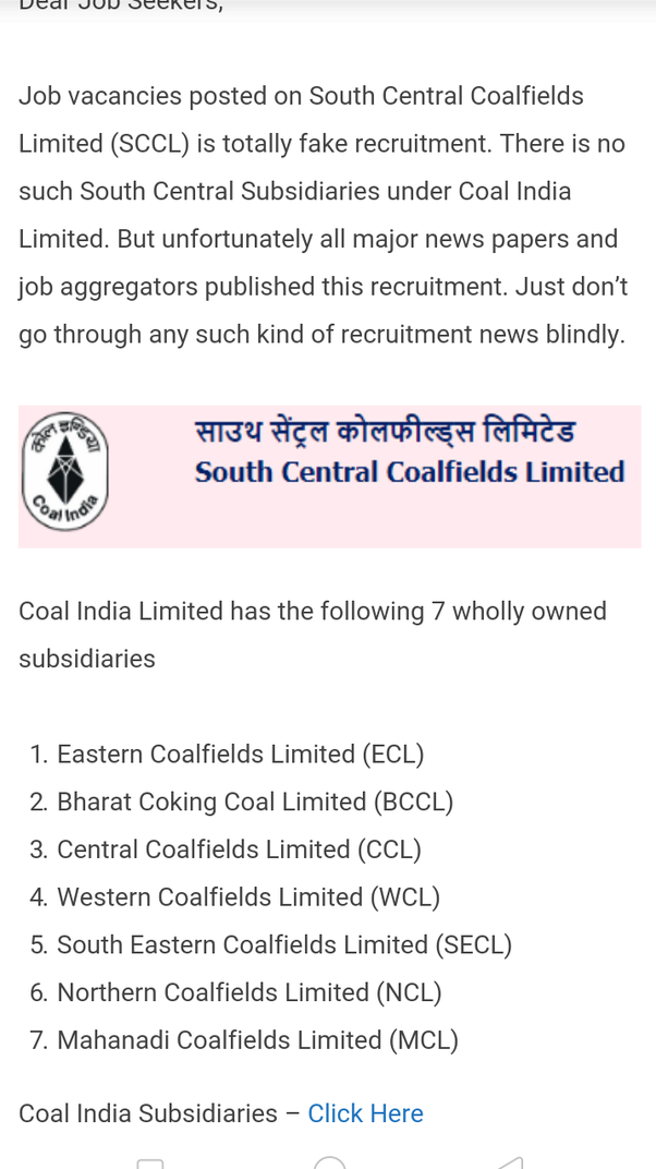 What is the SCCL vacancy scam of Coal India Limited? - Quora