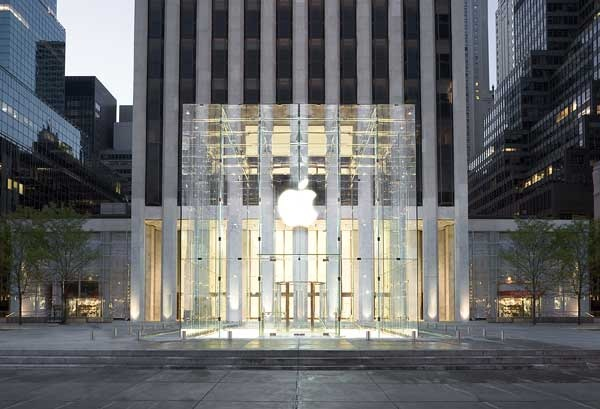 Apple Fifth Avenue opened May 19, 2006, but the General Motors (GM) building behind it had been there since 1964 (opened 1968). See the building behind the ...