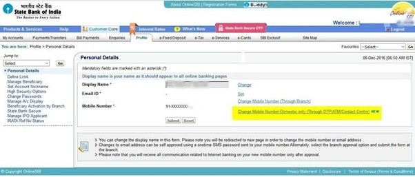 How to changeupdate my mobile number for both sbi online banking step 4 click on the link change mobile number domestic only through otpatmcontact centre spiritdancerdesigns Gallery
