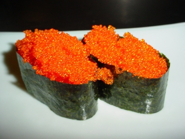 What are the orange eggs on sushi called quora for Sushi fish names