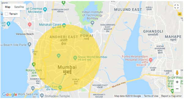 How to draw a circle on Google Maps - Quora  Mile Radius Map on custom radius map, 400 miles by 300 miles map, radius point on a map, printable radius map, google maps radius tool map,