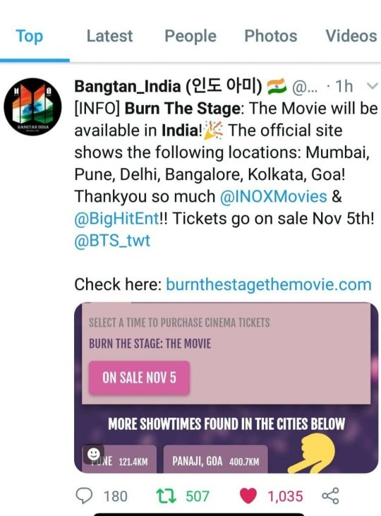 Is BigHit releasing the film 'Burn the Stage' (BTS) in India