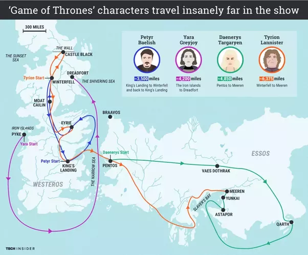 What would the travel map of daenerys look like through out the map shows vast distances game of thrones characters travel gumiabroncs Gallery