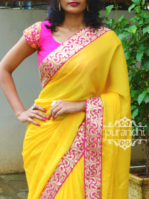 f42849fc6e43f0 Which colour saree will suit with dark pink blouse  - Quora
