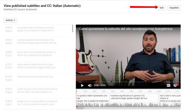 L'editor dei sottotitoli di YouTube