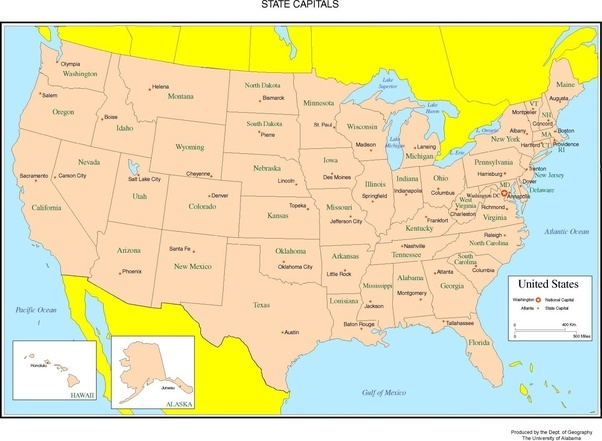 please take a look at the state capitals of the united states