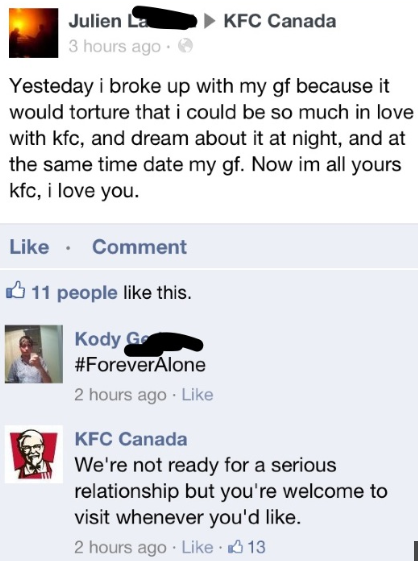 Great KFC Canada Is Not Afraid Of Showing Itu0027s Funny Side :)