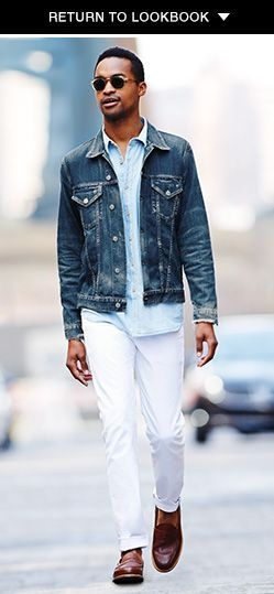 704d80df3eb Would a blue jean jacket go better with white pants or a white ...