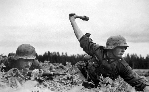 WW2 Picture Photo German soldier with a grenade and his dog 3105