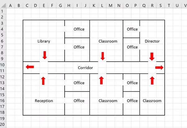 floor plan of the office. This Would Make A Pretty Clear Exit Plan To Post Around In The Building. Floor Of Office