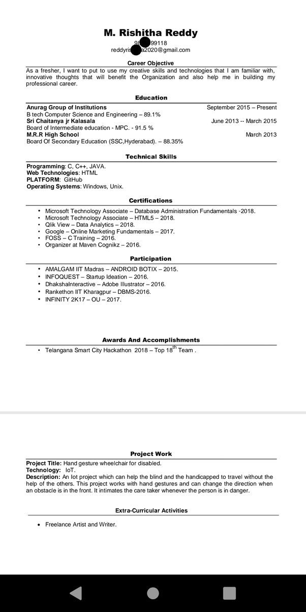 How To Write A Resume For An Internship Quora