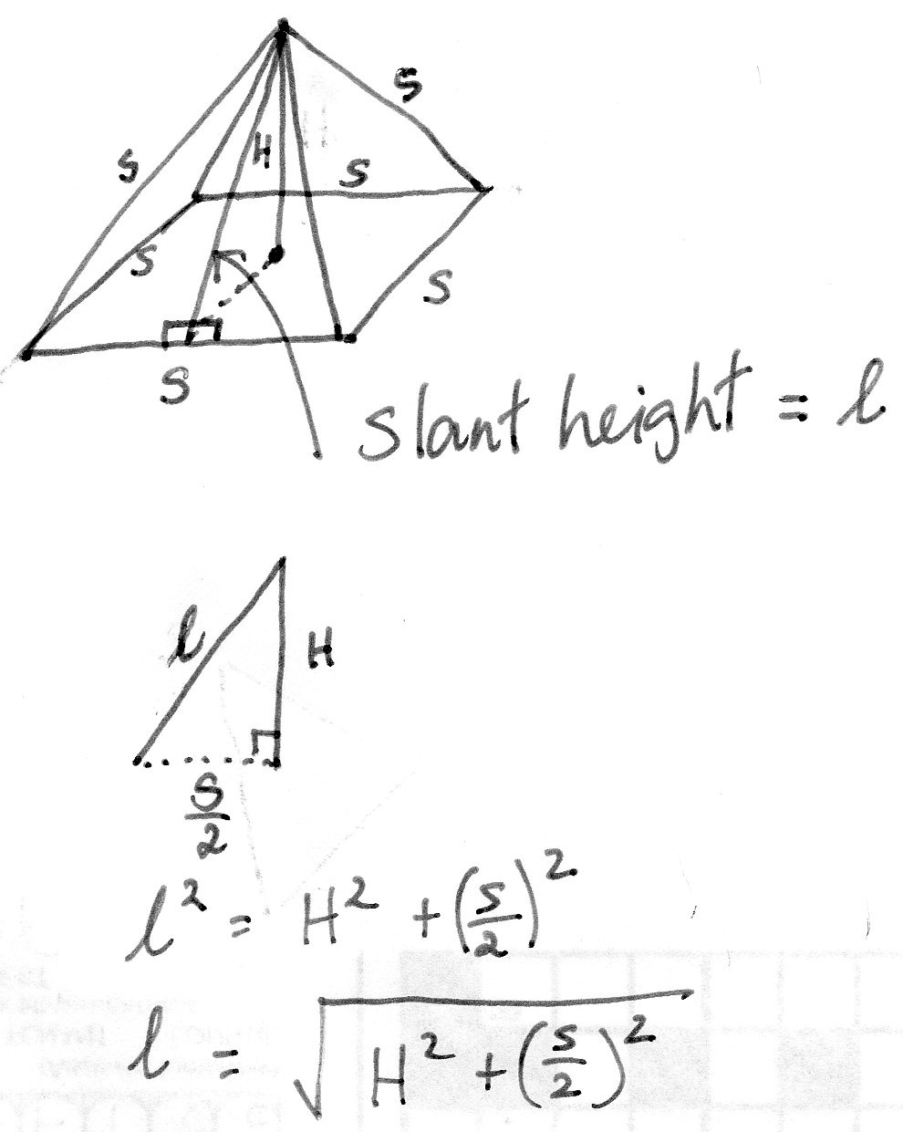 How to calculate the slant height of the given square pyramid - Quora