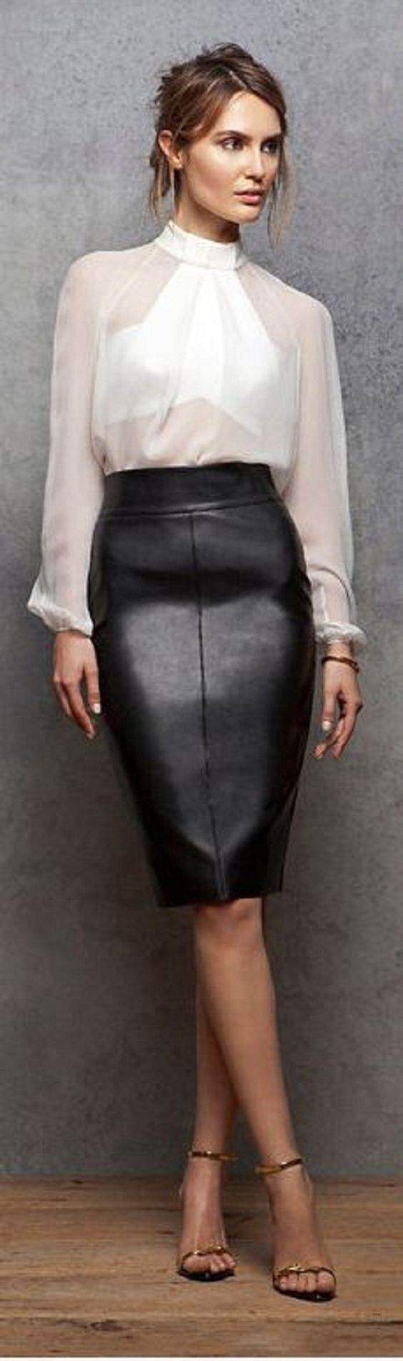 What top should you wear with a pencil skirt?