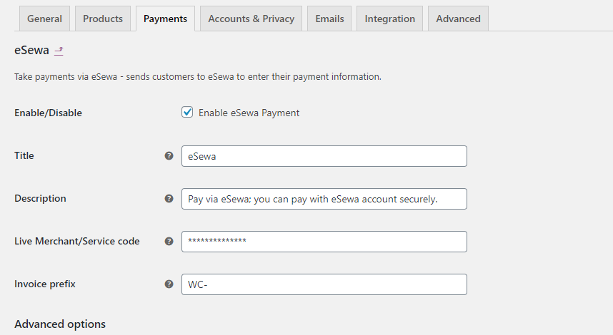 eSewa Payment Gateway Module for WordPress