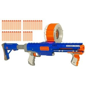For an intriguing combination, you might consider a Longstrike  (http://www.amazon.com/Nerf-N-Str...), the N-Strike sniper rifle.