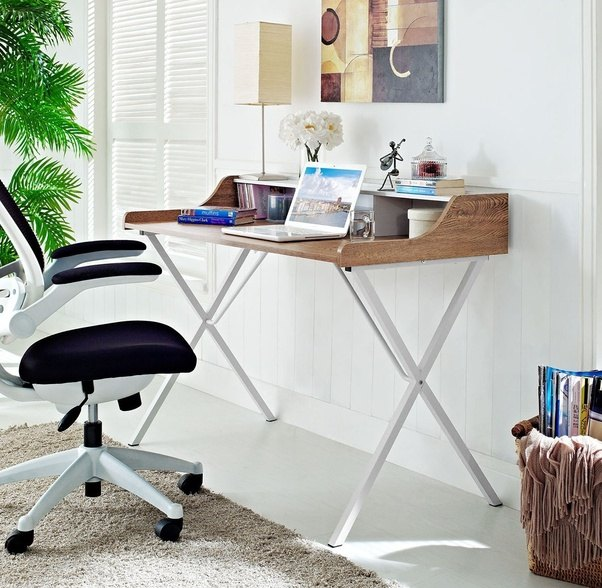 It Features A Powder Coated White Metal A Frame Design And A Wood Grained  Melamine Top. Bin Office Desk | Walnut