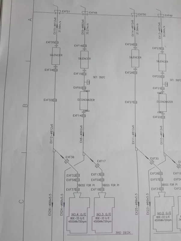 what is the difference between piping engineer and piping designer Piping Diagram Symbols it shows the no 4 generator engine's exhaust gas is go through exf37 exf58 exf32 exf36 exf33 exf34 (expension joints) and silencer, then exf36(expension Typical Hot Water Piping Schematic