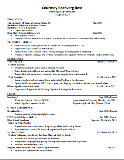 What Does The Resume Of Someone Who Got A Software Engineering Internship  Or Full Time Job At Facebook, Dropbox, Or Quora Look Like?  Resume For Internship