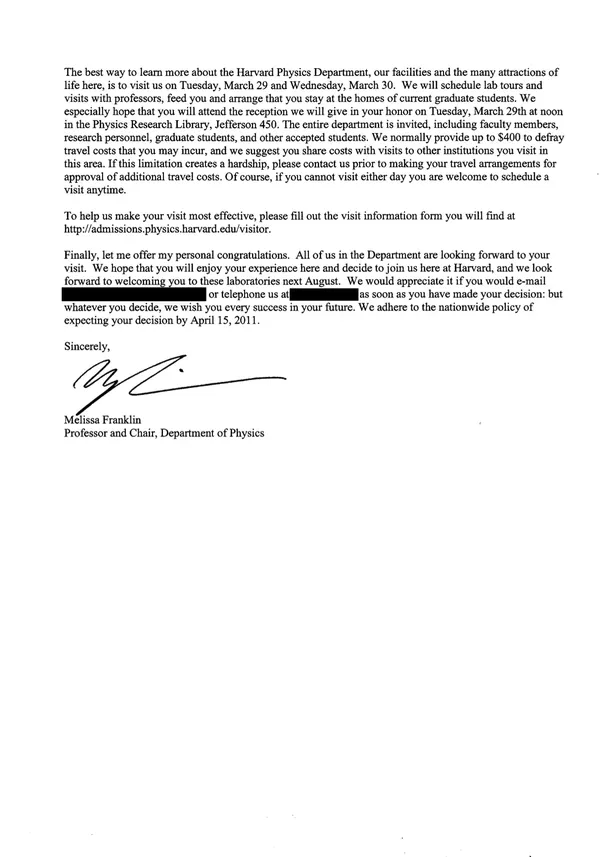 What does a harvard letter of acceptance to graduate school look heres what my first letter looked like physics phd thecheapjerseys Image collections