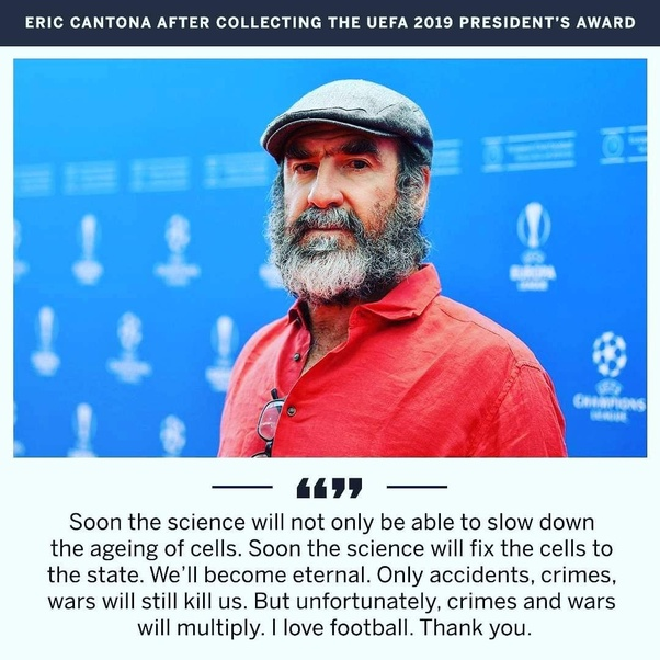 What is your opinion of Eric Cantona's acceptance speech
