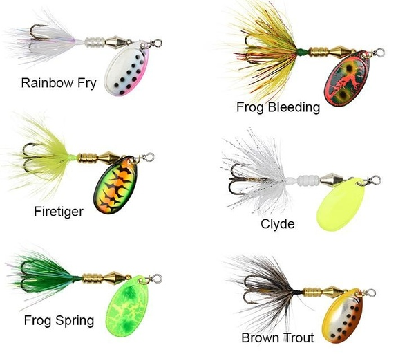 - 1//8oz Lot Of 5 Different Fishing Lure- Trout- New! Rooster Tail Spinners
