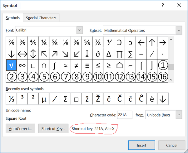 How to insert mathematical symbols in ms word using shortcuts quora it is also possible to assign your own shortcut key combination you do this by clicking on the shortcut key button at the bottom of the dialog sciox Choice Image