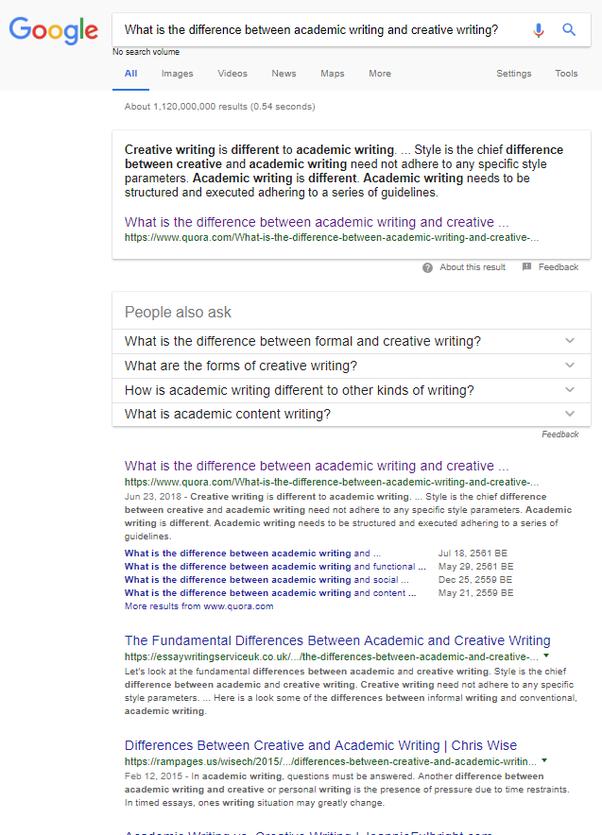 Academic Writing vs. Creative Writing