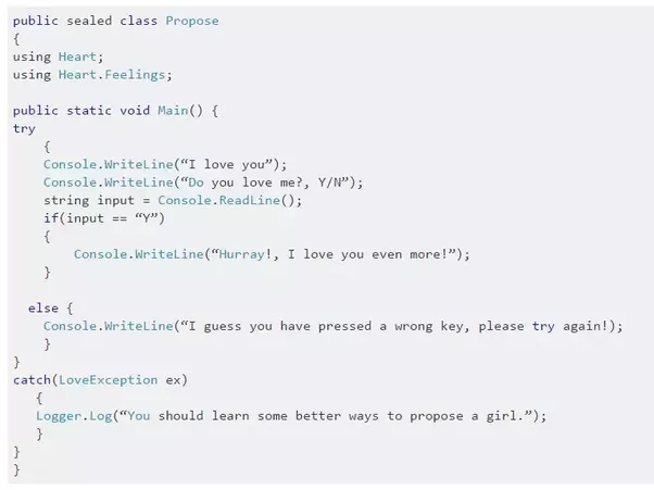 What Is The Best Way To Propose A Girl In Coder Style Quora