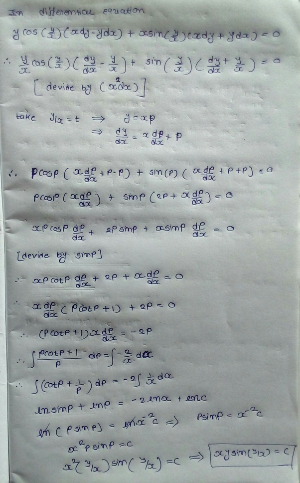 How To Solve This Differential Equation: Y Cos(y/x) (xdy
