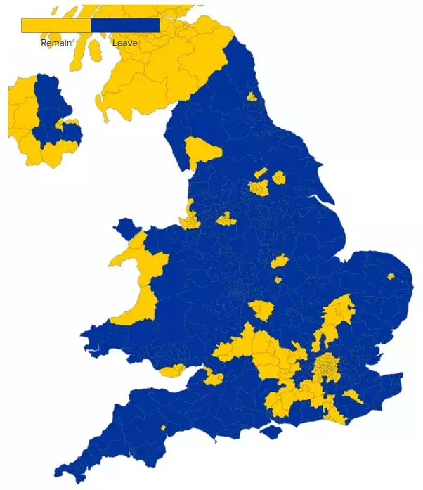 here is the uk map blue for leave