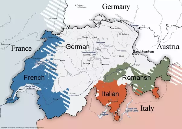 above the linguistic regions of switzerland