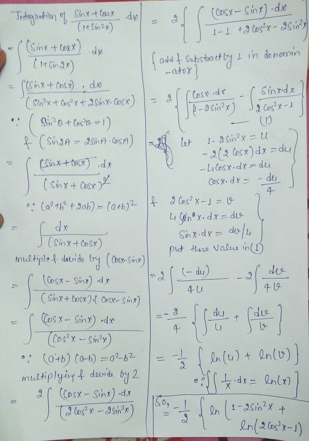 What Is The Integration Of Sinx Cosx 1 Sin2x Quora