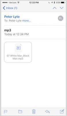 how to save an mp3 email attachment on iphone