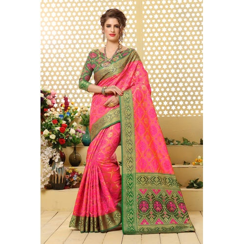 Other Options In Blouses You Can Explore With Pink Sarees Are The Colours Purple And Dark Blue