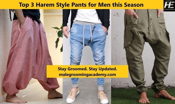 Harem Style pants are the new fashion trends for men, these pants are the latest craze for men worldwide. You need to be confident to adopt this men new style of casual wear. There are three options of Harem pants that men should try to break out from the old rules of fashion.