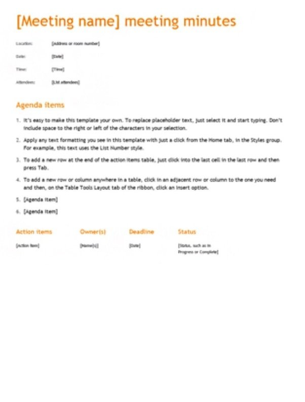 What is the correct format for recording a motion in for How to take meeting minutes template